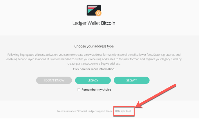 ledger wallet bitcoin gold tool